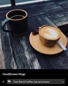Cappucino Cup and Saucers by Sven Ceramics. As seen on Wescover