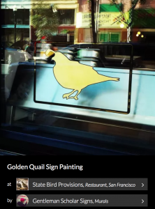 Golden Quail Sign Painting by Gentleman Scholar Signs. Seen on Wescover.