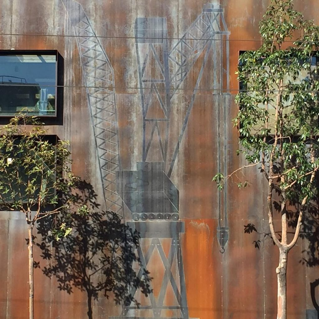 Steel Crane Mural by Alexis Laurent, as seen on Wescover.