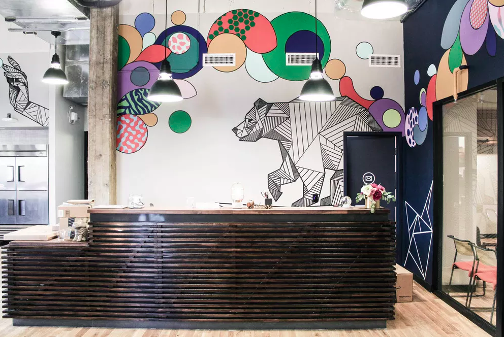 Allison & The Couto Bros collaborative mural at WeWork LA. As seenon Wescover.