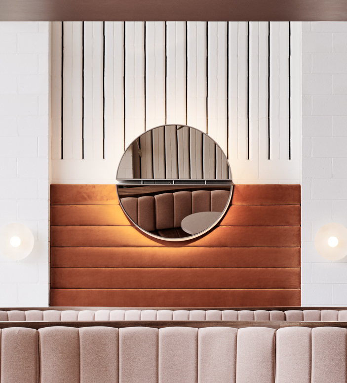 Custom Wall Light by Foolscap Studio at Domaine Chandon. As seen on Wescover.