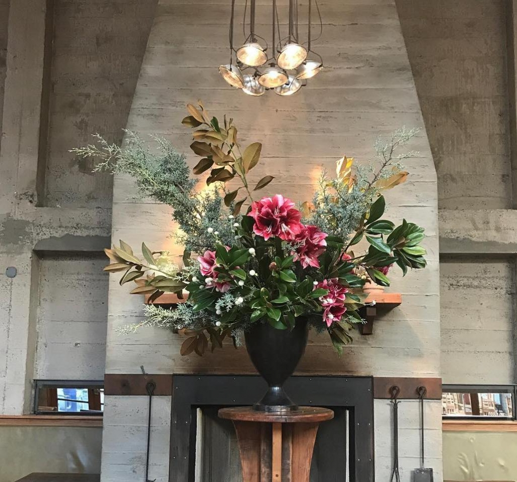 Floral Urns made by Wallflower Design in The Overlook Lounge in Oakland, CA. As seen on Wescover.