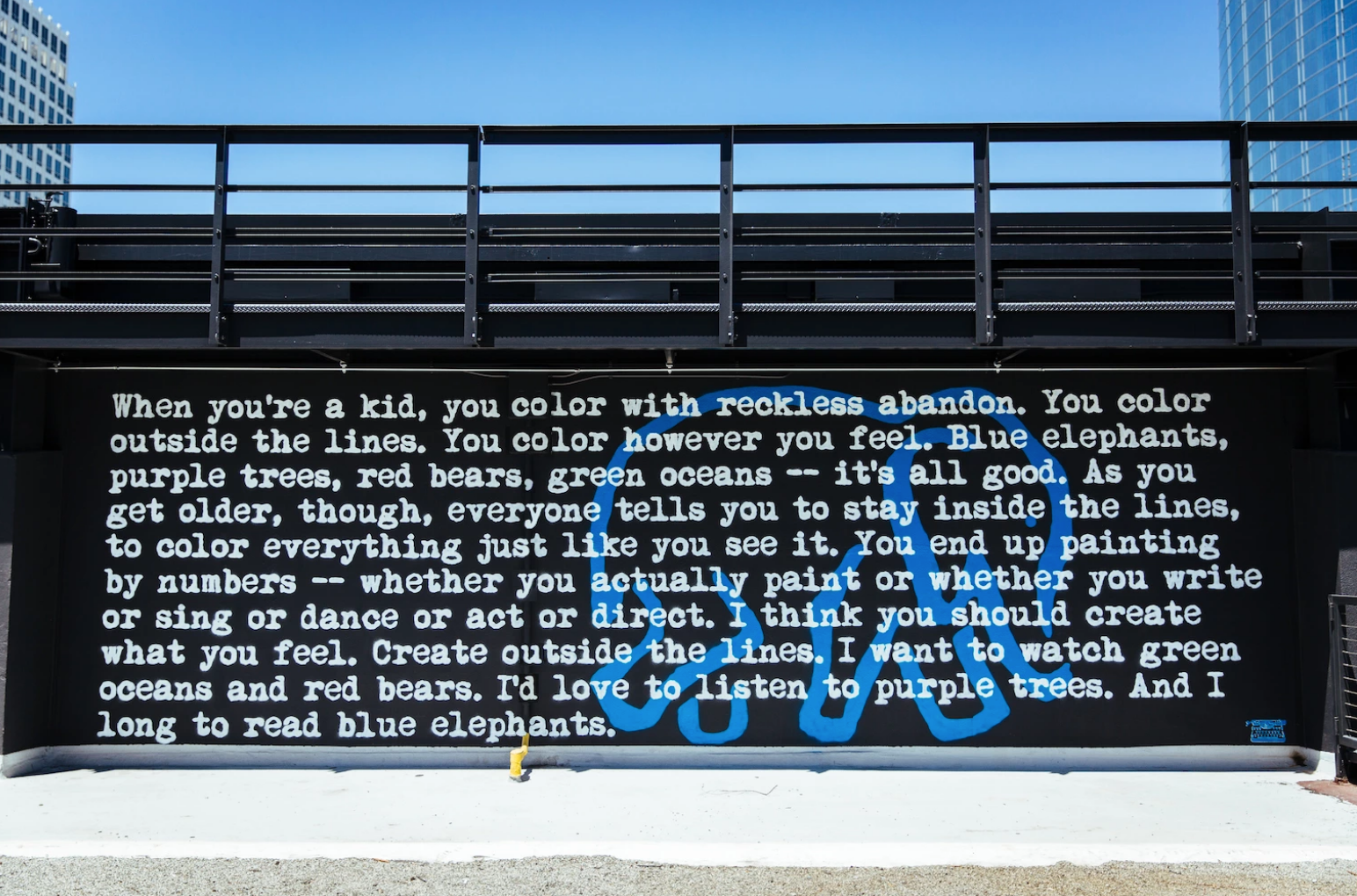 Blue Elephants by WRDSMTH at The Bloc Downtown LA, as seen on Wescover.