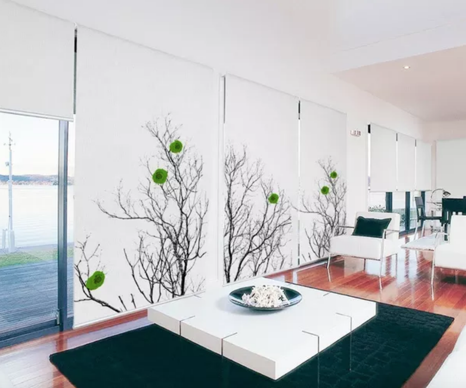 Photography, wall treatment, art, handmade, atlanta photographer, modern minimalist window treatment with trees and green leaves, eco-art window treatments e=