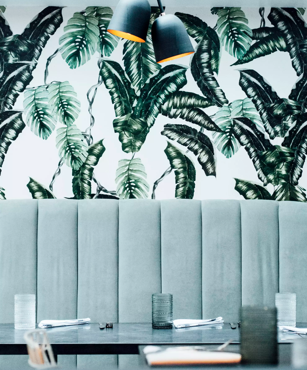 Custom, Wallpaper, local artists, made-to-order art, planta restaurant, banana leaf wallpaper