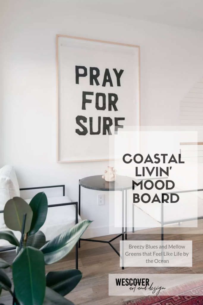 Coastal Livin Mood Board. All items displayed are as seen on Wescover.