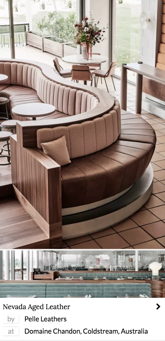 brown leather furniture by Pelle Leathers in a restaurant