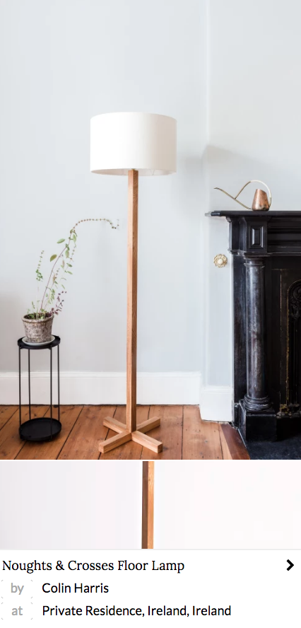 noughts and crosses floor lamp made from wild Irish elm
