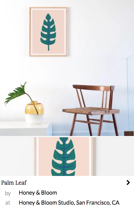 Minimal nude and green palm leaf print