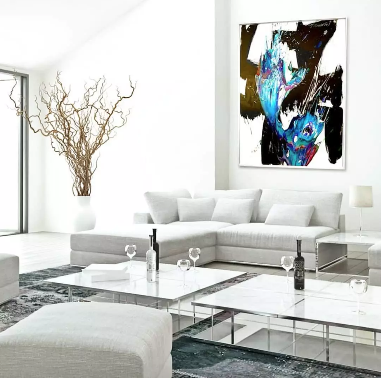 Contemporary abstract painting in modern home by Peter Tirantos in Miami