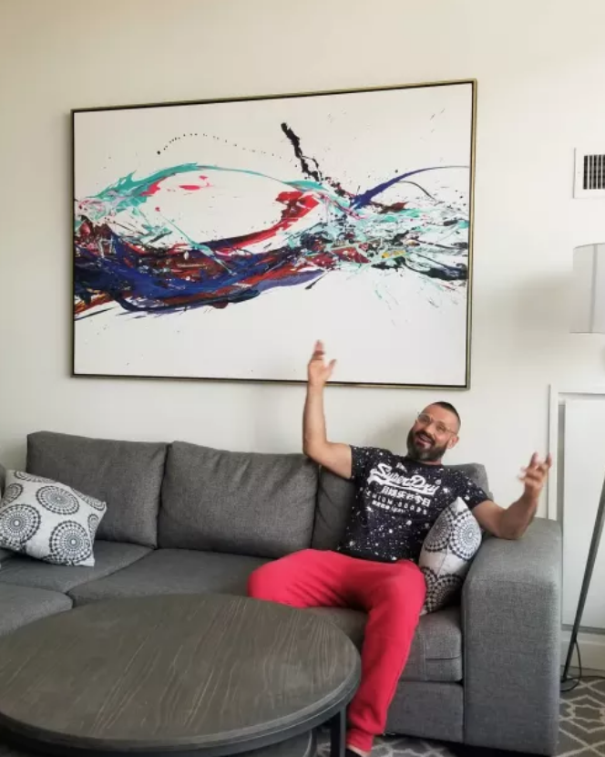 Abstract, contemporary art piece in modern home by Peter Triantos in Toronto