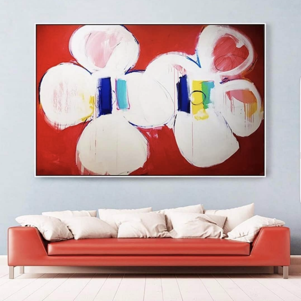 Contemporary, abstract, and colourful painting by peter triantos in a modern apartment in Toronto Canada