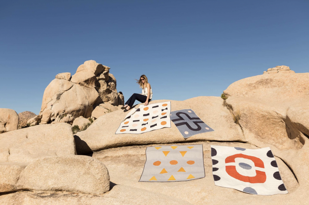 Laura Preston of Vacilando Quilting Co. at Joshua Tree National Park, as seen on her Wescover page.