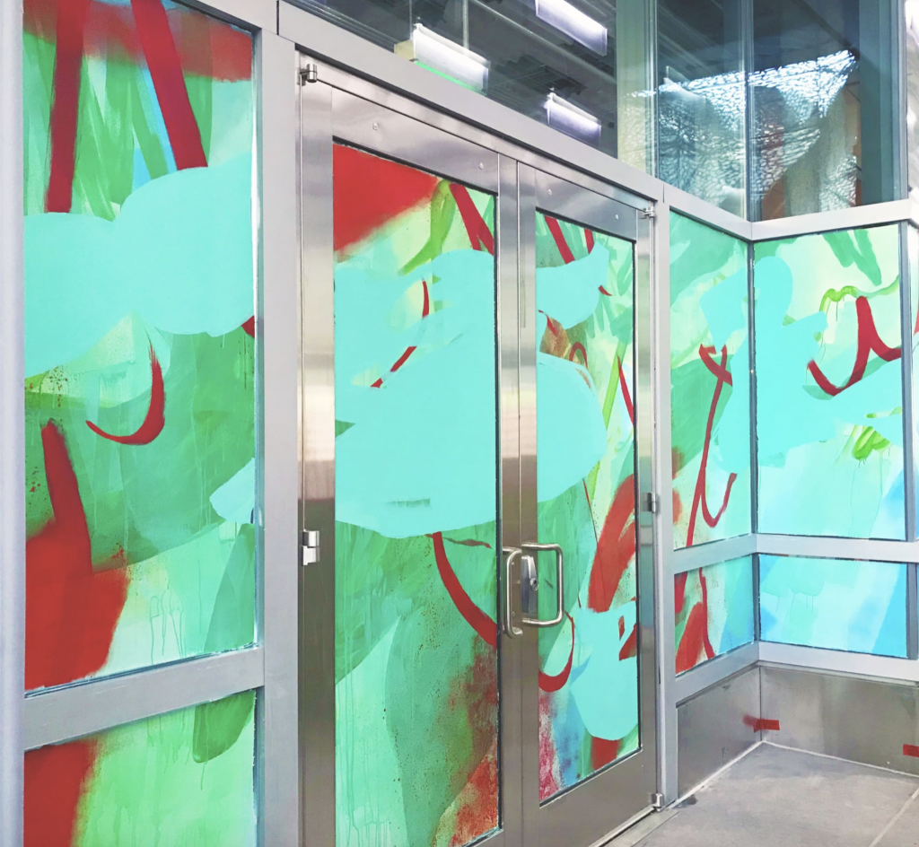 Dynamism mural by Nicole Mueller in the Salesforce Transit Center, San Francisco CA as seen on Wescover