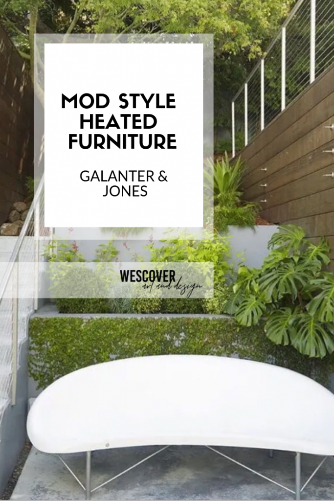 Mod style outdoor heated benches for patios by Galanter and Jones Heated Furniture.