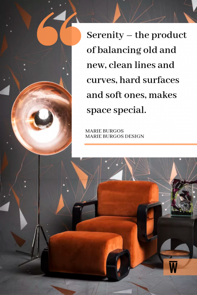 """""""Serenity - the product of balancing old and new, clean lines and curves, hard surfaces and soft ones, makes space special."""" - Marie Burgos, a Wescover creator."""