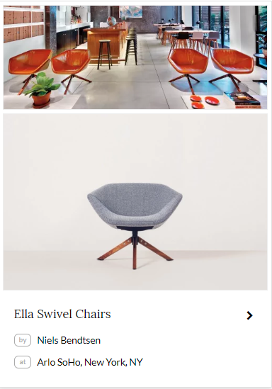 Ella Swivel Chairs by Niels Bendtsen. On display at Arlo SoHo in New York, seen on Wescover.