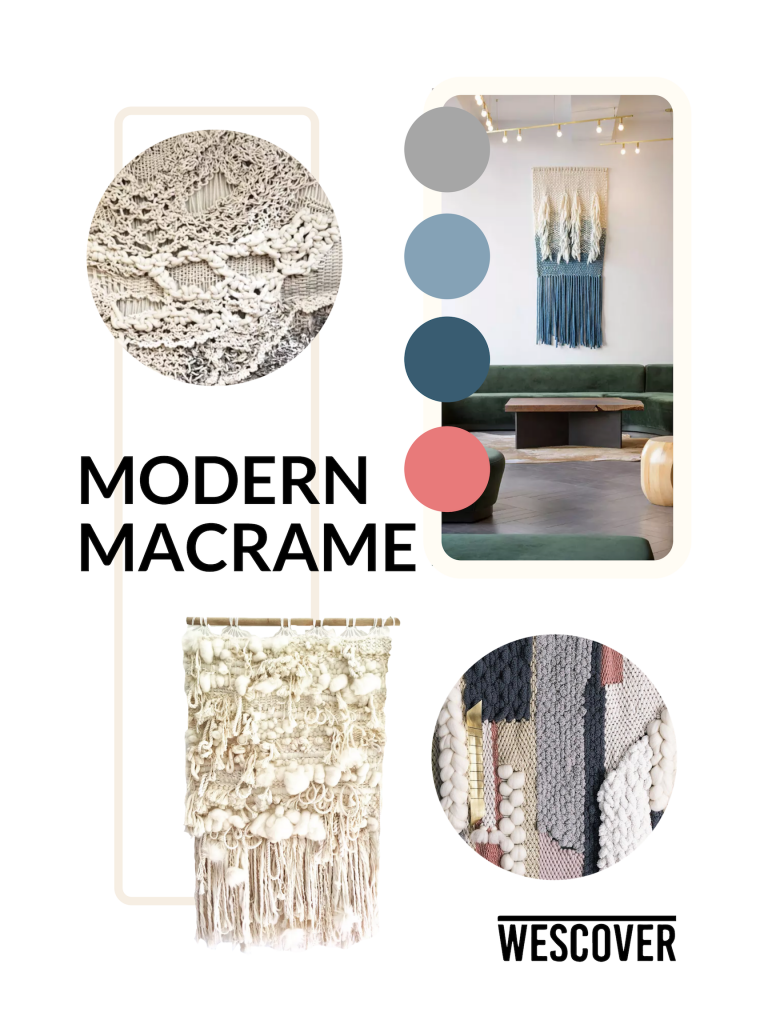Modern Macrame Moodboard. Are items displayed are seen on Wescover.