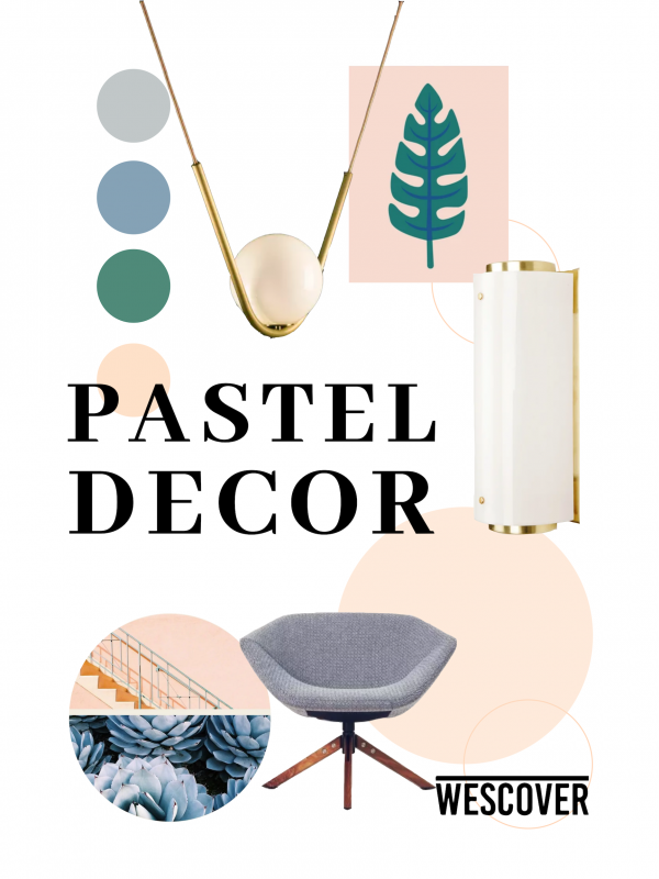 Pastel Decor Moodboard. All items displayed are seen on Wescover.