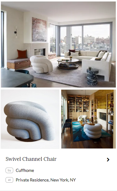 Swivel Channel Chair by Cuffhome. Seen at a private residence in Soho, New York City on Wescover.