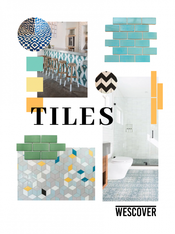 Tiles Moodboard. All items displayed are seen on Wescover.