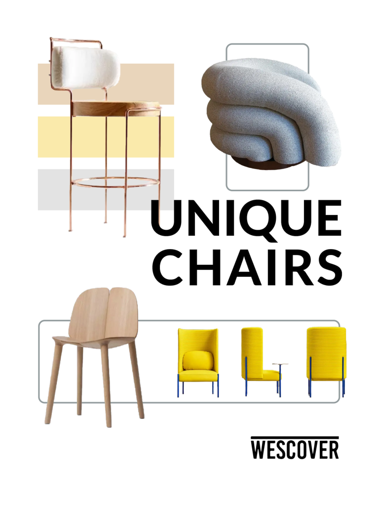 Unique Chairs Moodboard. All items displayed are seen on Wescover.