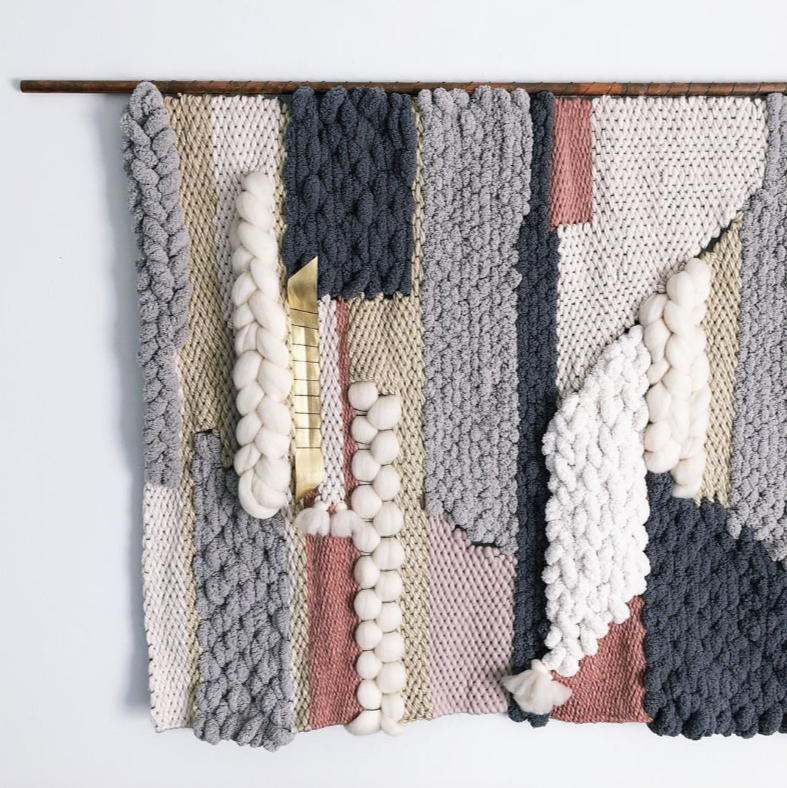 Woven Wall Hanging by Erin Barrett (Sunwoven). Displayed at a private residence in Los Angeles, CA. As seen on Wescover.