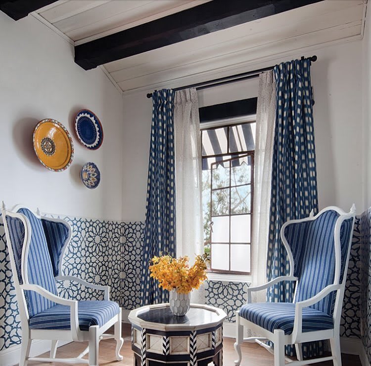 Blue and white encaustic cement spanish tiles by Granada Tile.