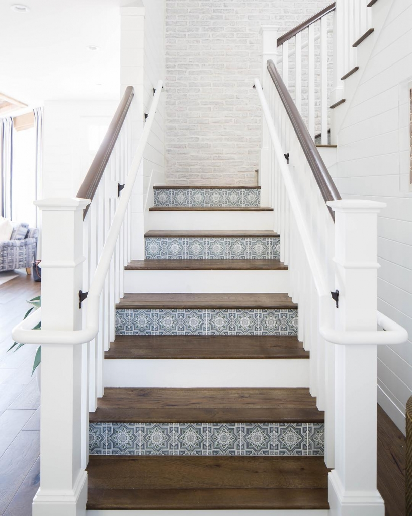 Cabrillo collection grey and white and green stone spanish stair riser tiles.