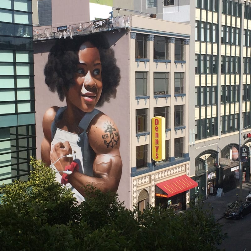 5-story public street grafitti mural on Mission Street and 4th street in San Francisco near the SFMoMA