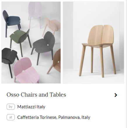 Osso Chairs and Tables by Mattiazzi Italy at Caffetteria Torinese in Palmanova, Italy. As seenon Wescover.