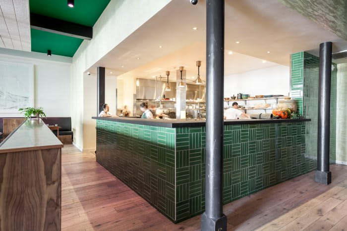 Parquet Tile in Sea Green by Fireclay Tile at Mister Jiu's in San Francisco. As seen on Wescover.