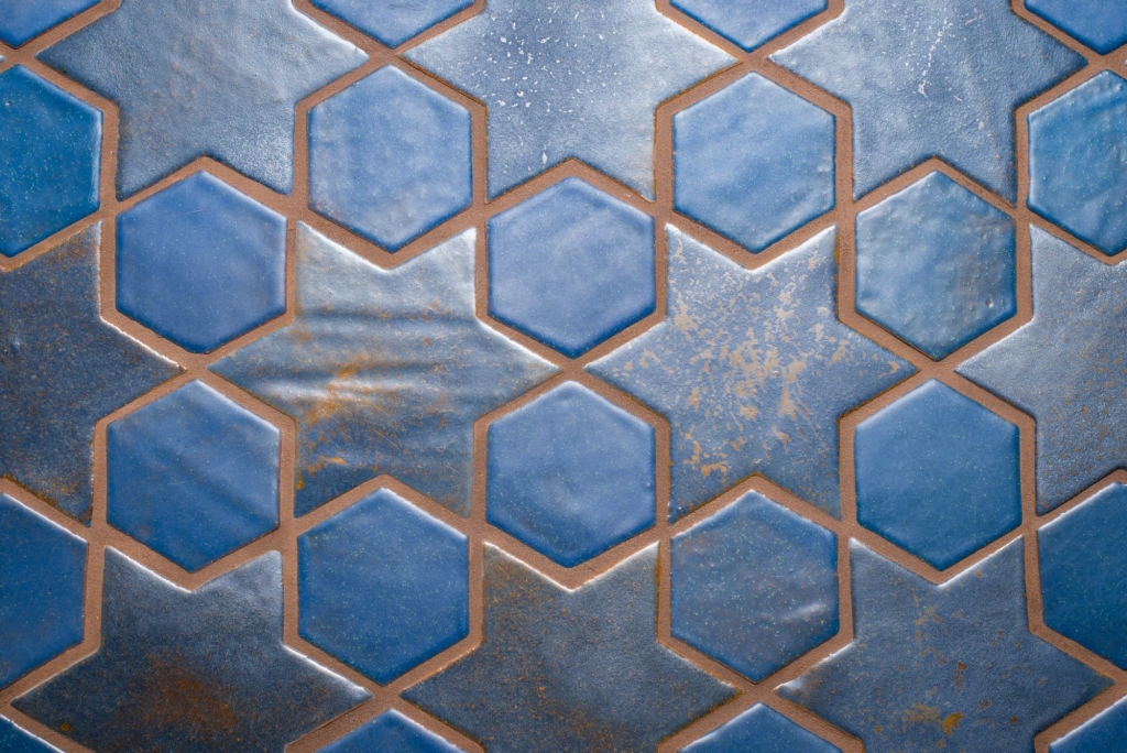 Blue star and hexagon spanish islamic meditteranean custom floor tiles.