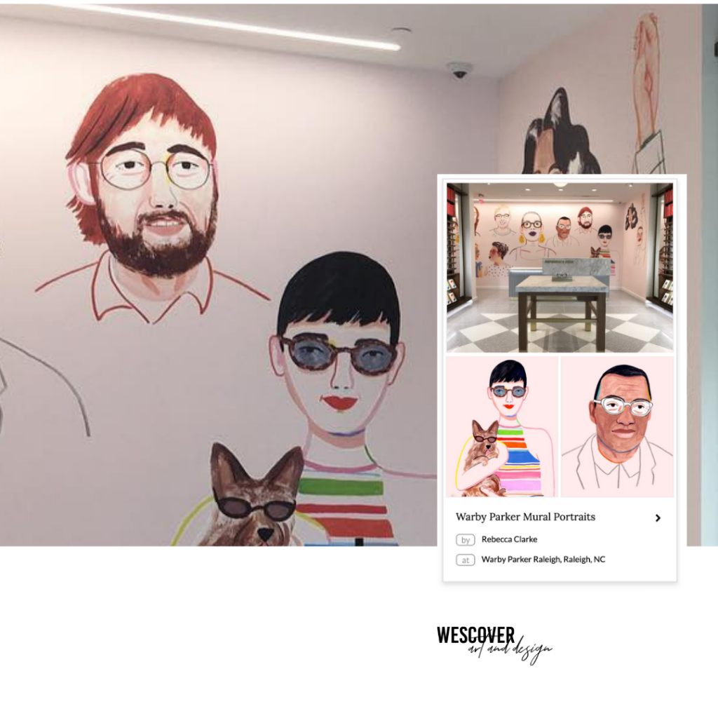 Mural Portraits by Rebecca Clarke in Warby Parker Raleigh, NC as seen on Wescover.