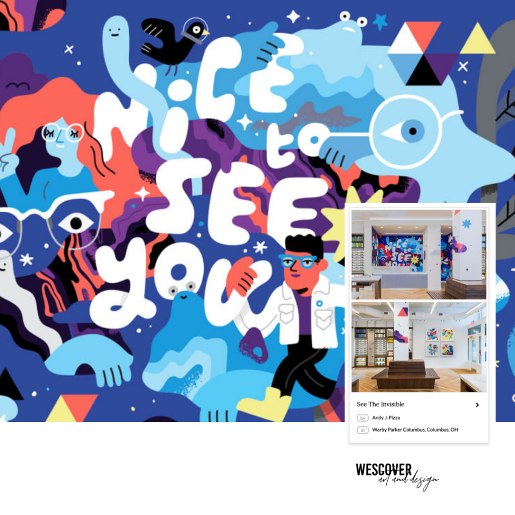 See The Invisible Mural by Andy J. Pizza in Warby Parker Columbus, OH as seen on Wescover.