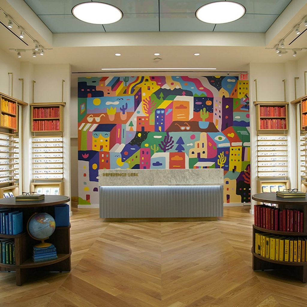 Warby Parker Classen Curve Mural by Kristopher Kanaly in Warby Parker Oklahoma City, OK.