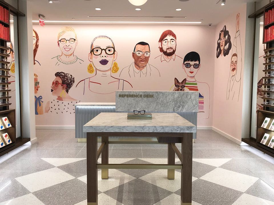 Warby Parker Mural Portraits by Rebecca Clarke in Warby Parker Raleigh, NC