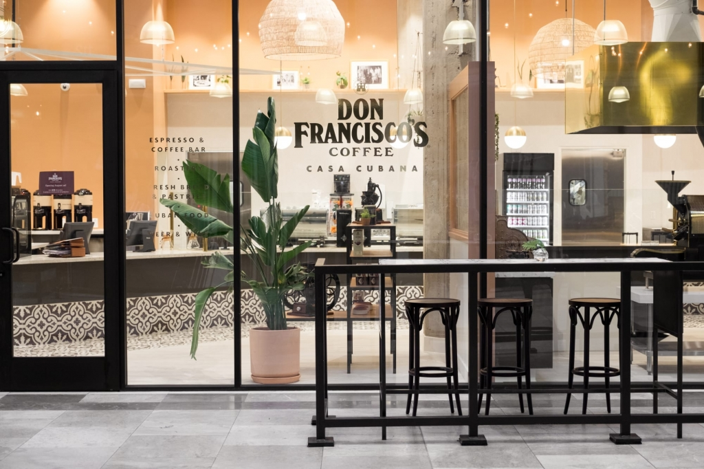 Exterior View of Don Francisco's Coffee designed and built by Omnigiving Interior Design in Los Angeles.