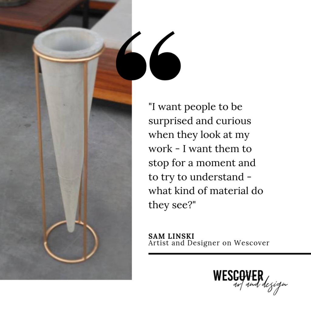 concrete vase and quote by sam linski
