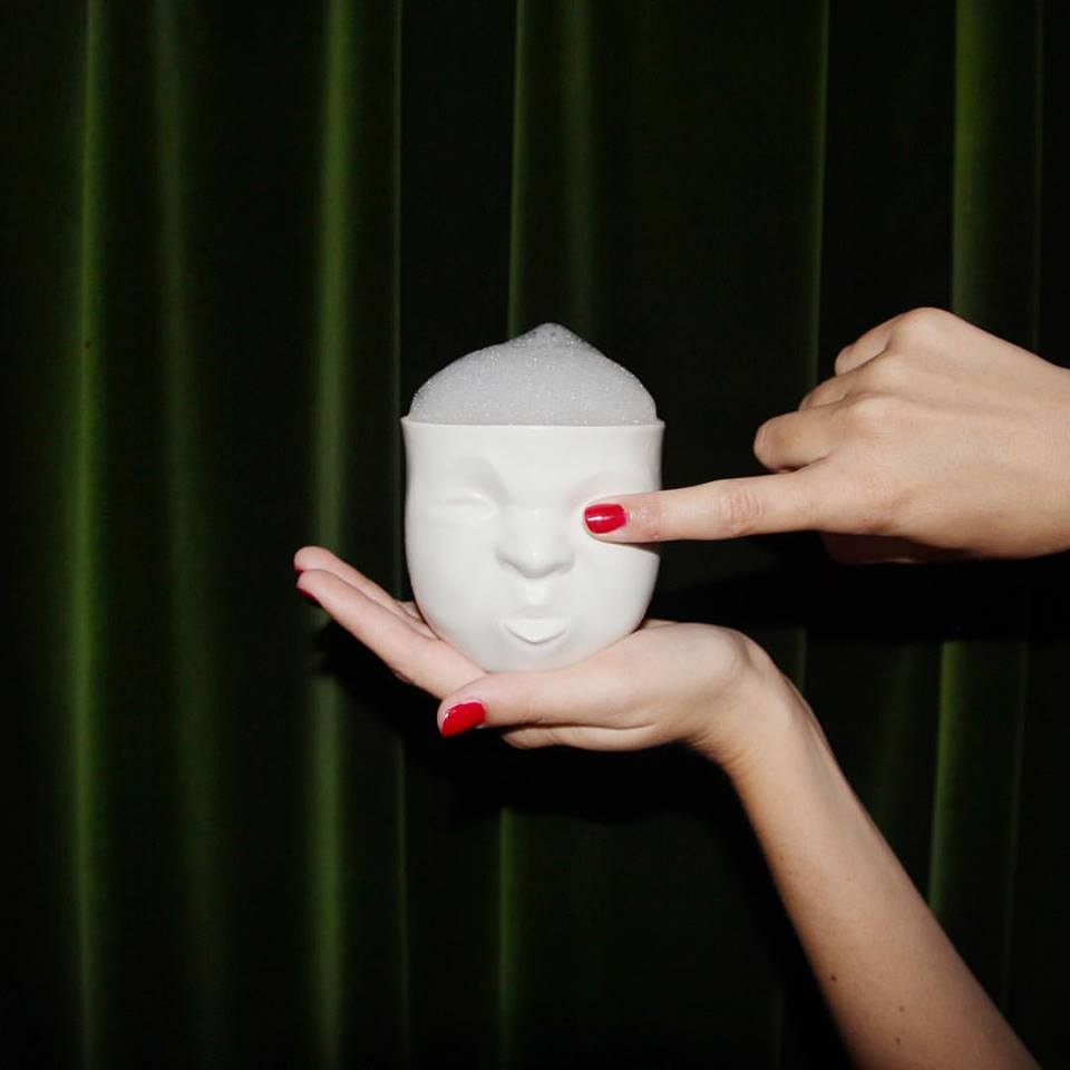 "Porcelain teasing face cup by SIND STUDIO | ""Why the sour face"" cocktail by Bellboy cocktails in Tel Aviv"