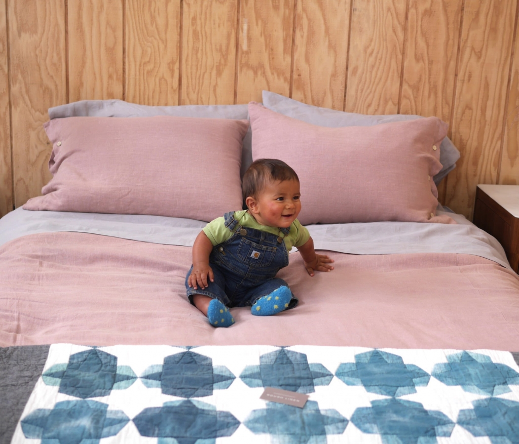 linen bed makeover by rough linen