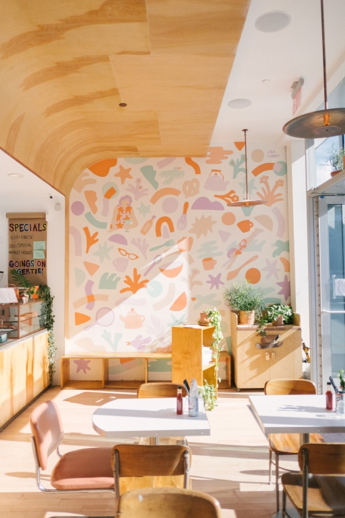 Matisse-esque Mural by Lea Carey at Gertie, Brooklyn, NY as seen on Wescover