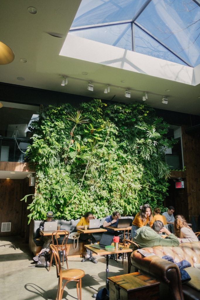 Live Vertical Garden Wall by Laurent Corradi (Plant Wall Design) at Devoción, Brooklyn, NY as seen on Wescover