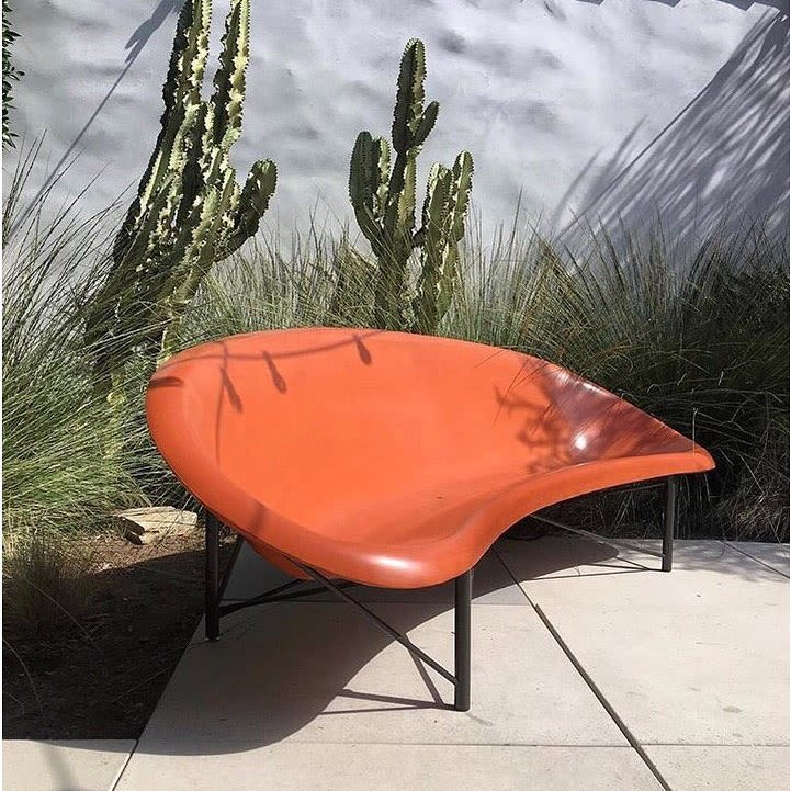 mod bean shaped orange heated patio furniture for outdoors