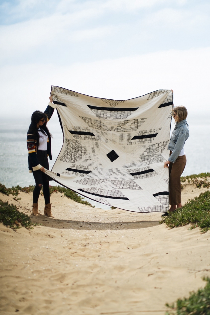 White and black geometric quilt