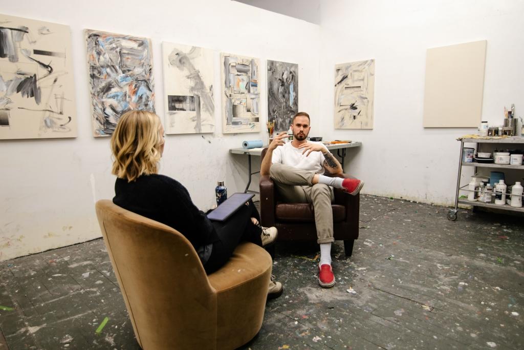 Grant McGrath and Lindsay Shepard in his studio. Image by Bryan Cerda.