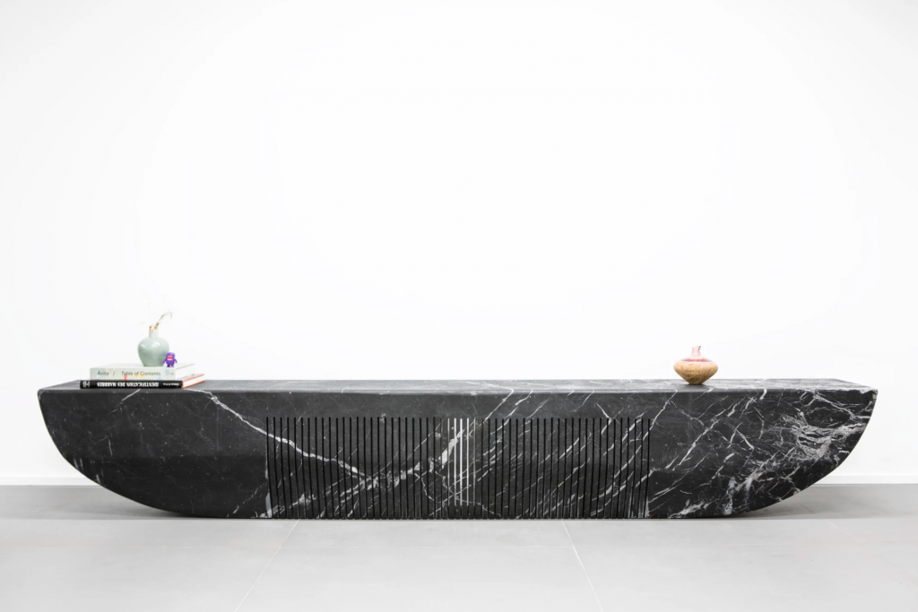 Long Sleek Modern Marble Table Black