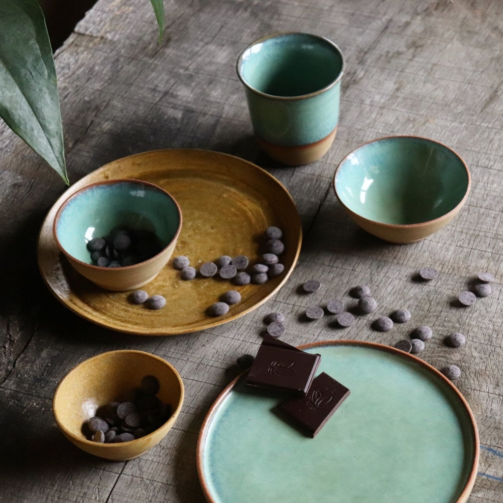 Ceramic plates and tableware in Sage glaze by Ceramics by Charlotte