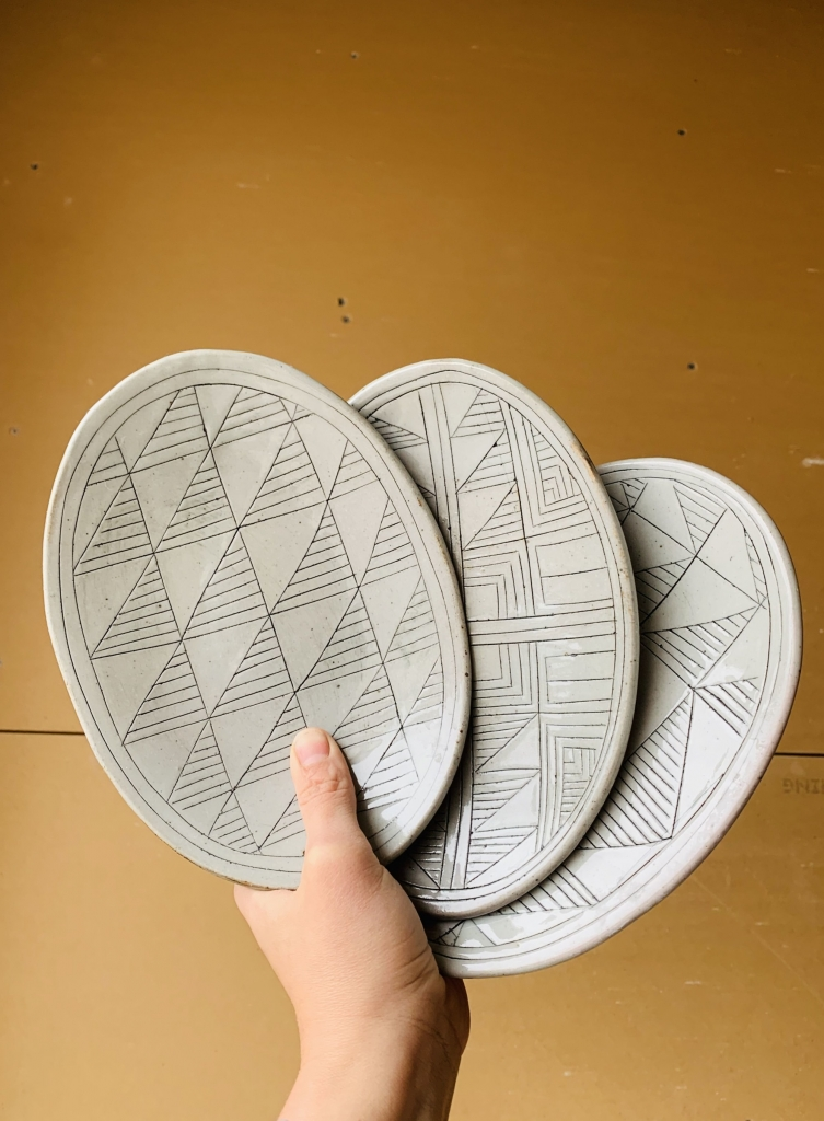 Geometric design tapas plates oval Ceramic Plates by ZUNICO Designs