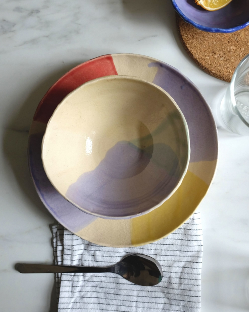 pastel hand made ceramic plates